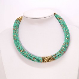 Collar gargantilla cordon turquesa y dorado