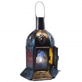 Farol  Marroquí Hexagonal   Metal y Cristal Multicolor