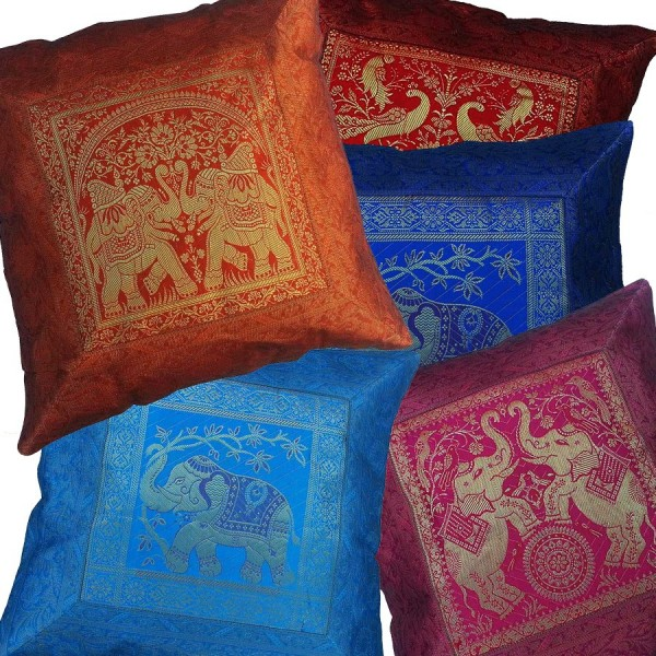 Funda Cojin Raso Elefante Sagrado India - Cojines-arabes