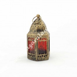 Candil Porta Vela Árabe Cúpula Cristal Rojo | Envejecido