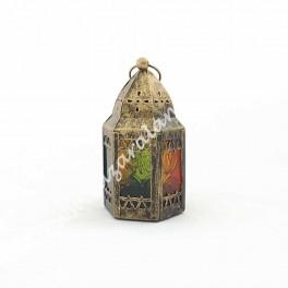 Candil Porta Vela Árabe Cúpula Cristal Multicolor | Envejecido