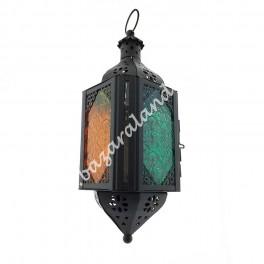 Farol Diseño Árabe Cuadrado Cristal Multicolor