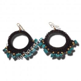 Pendiente Aro doble  crochet negro y turquesas