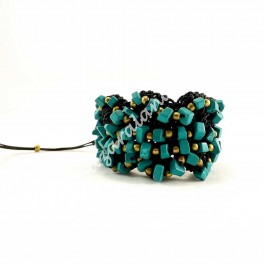 Pulsera Turquesas Ondas crochet Negro
