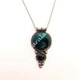Colgante Medallón Piedra Verde botella con cadena