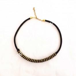 Collar gargantilla cordon negro y dorado