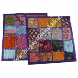 Funda Cojin Bordado Patchwork Artesano India