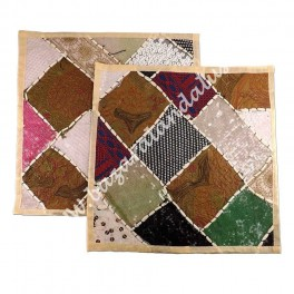 Funda Cojin Bordado Patchwork Artesano India - Modelo 2