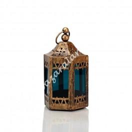 Candil Porta Vela Torre Árabe Cristal Azul | Envejecido