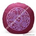 Cojín Zafú Meditación - Color Rojo Purpura 8 Símbolos Auspiciosos Budistas