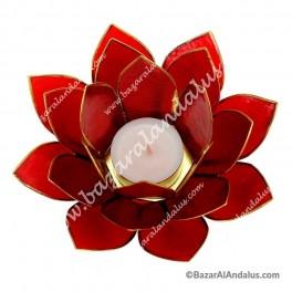 Rojo - Flor de Loto - Portavela - Borde Dorado