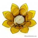 Amarillo - Flor de Loto - Portavela - Borde Dorado
