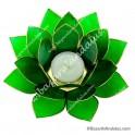 Verde - Flor de Loto - Portavela - Borde Dorado y Concha Capiz