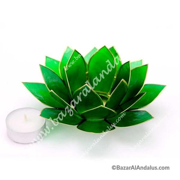 Flor De Loto Color Verde Portavela Concha Capiz