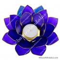 Azul Indigo - Flor de Loto - Portavela - Borde Dorado y Concha Capiz