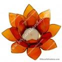 Naranja - Flor de Loto - Portavela - Borde Dorado y Concha Capiz
