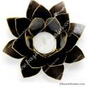 Negro - Flor de Loto - Portavela - Borde Dorado