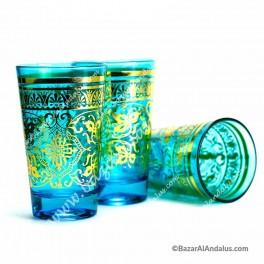 Vasos de Té Árabe Turquesa Floral