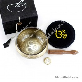 Cuenco Cantor Ohm Tibetano en Pack - Ideal Regalo - Caja Negra