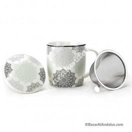 Taza de Mandala Gris - Porcelana China
