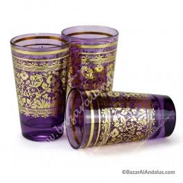 Vasos de Té Árabe Morado con Motivos Étnicos