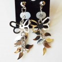 Pendiente Mariposa con hojas metal plata