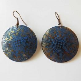 Pendiente Cobre Azul Moneda dibujo indio