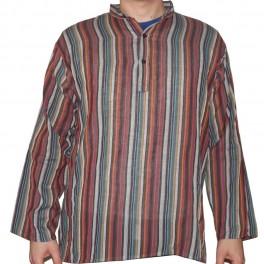 Camisa De Hilo Colores Rayas Hombre Hecho en India